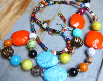 Ethnic necklace multicolor #1