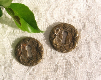 Vintage ~ Lock plates ~ Key hole ~ Escutcheon ~ Portuguese authentic ~ Metal lock plates ~ Brass lock plates