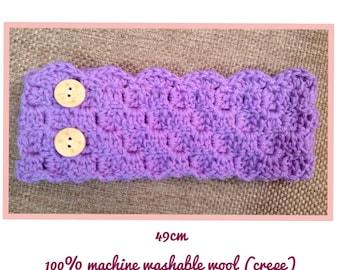 Crochet wool ear warmer : purple adjustable