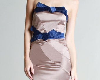 Satin Bow Tie Tube Dress