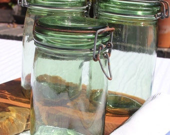 L'Ideale vintage French preserving/canning jar in green glass
