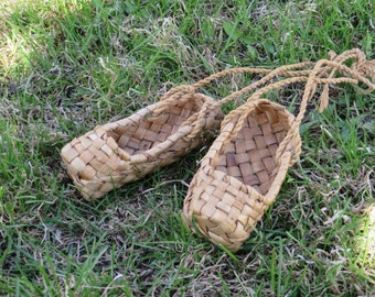 Rustic home decor LAPTI. Birch bark shoes. Woven birch bark in traditional Russian style. Soviet farmer shoes. Russian shoes.  USSR 1970s.
