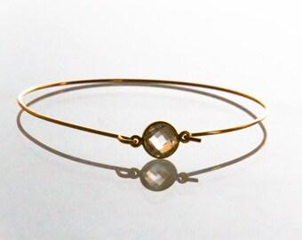 14k Gold Clear Quartz Bangle Bracelet - Multi Faceted Crystal Gemstone Vermeil Bezeled Minimalist