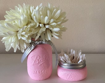Pink Glitter Mason Jar Set - Girl Baby Shower Decor - Pink Wedding Centerpiece-Dorm Decor