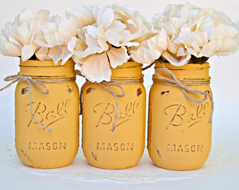 Gold Jars, Yellow Jars, Mason Jars Decor, Mason Jar Bulk, Jar Centerpiece, Chic Centerpiece, Cottage Decor, Spring Decor, Summer Decor, Jars