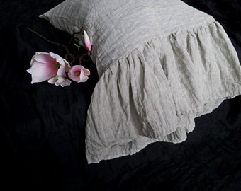 GREY-oatmeal(Natural)linen pillow cases with long ruffle shabby chic ruffled pillowcase standard pillowcases queen natural linen bedding