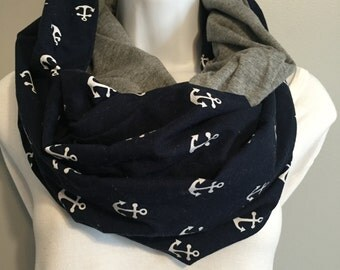 Reversible, infinity, gift for her, fall scarf, gift ideas, anchor scarf, accessory, cotton scarf, gray jersey knit