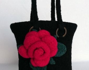 Rose Evening Bag, Rose Evening Clutch, Wedding Bag, Black, Knitted Bag, Felted Bag,  Handmade, Red Rose, Knitted Rose, Knitted Flower
