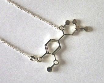 Silver Adrenaline Molecule Necklace, silver or gold