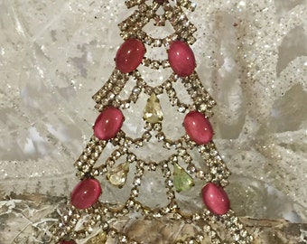 Husar D Czech Rhinestone Christmas Tree  Pink stand up tree  Tabletop tree  Holiday decoration  Gifts for her  Christmas decoration  #423