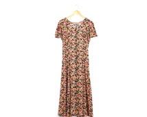 Vintage floral maxi dress / 90s corset back dress / Small flowered button dress / Sweet flutter sleeve dress