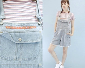 Vintage 90s Jean, Denim Short overalls with Pockets, LARGE