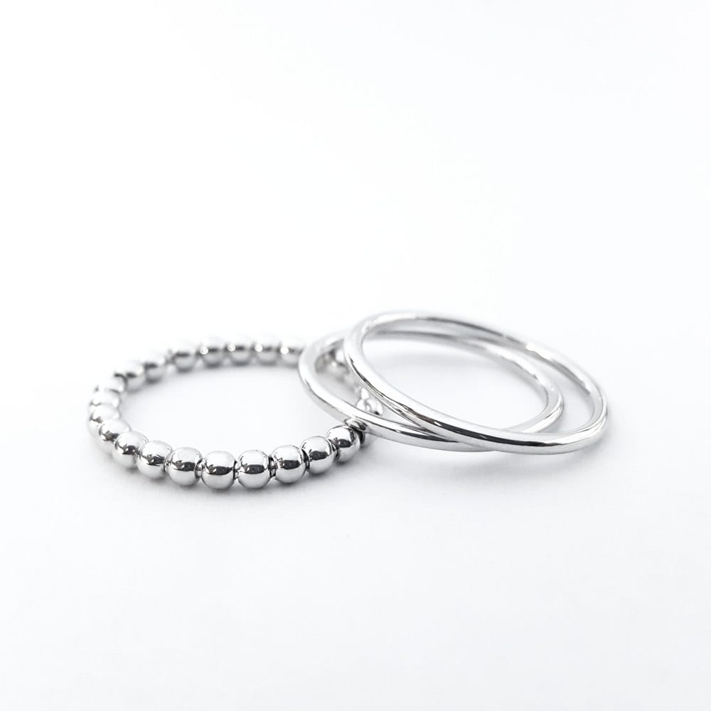 silver stacking ring stackable ring beaded ring wedding