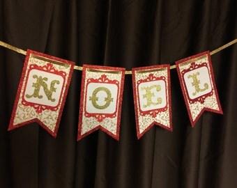 Noel Banner - Red & Gold