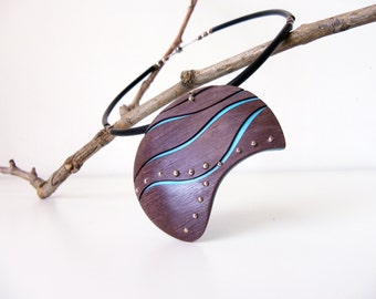Modern, contemporary and design, chocolate and turquoise necklace