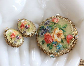 Vintage West Germany Demi Parure Floral Filigree with AB Rhinestones Brooch Pin and Clip Earrings Set