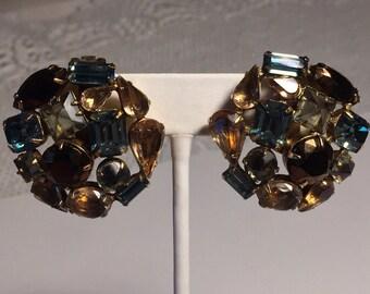 Schreiner Earrings, Schreiner Clip ons, Gorgeous Schreiner Cluster Earrings, Vintage Henry Schreiner