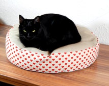 Heart cat bean bag bed, small pet dog laying mat bed, red beague double color cat soft bed with bean bag filling, simple handmade cat bed