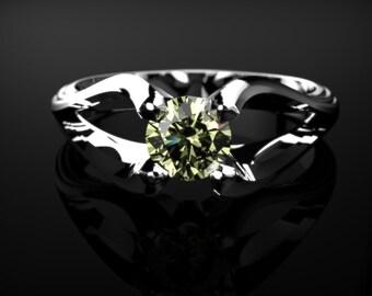 White Gold Peridot Ring White Gold Peridot Engagement Ring Peridot Engagement Ring Gemstone Ring Peridot Ring Peridot August Birthstone Ring