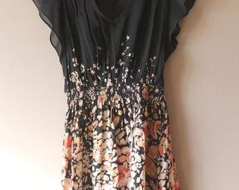Romantic black flowered dress