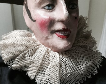 Absolute rarity! Boudoir doll Pierrot, charming, ca 1900