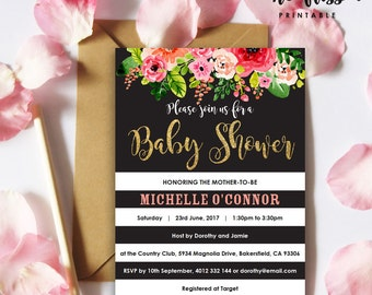 Black and White stripe Shower Invitation | Watercolor Flower | 5x7 | Editable PDF | Instant Download | Personalize at home with Adobe Reader