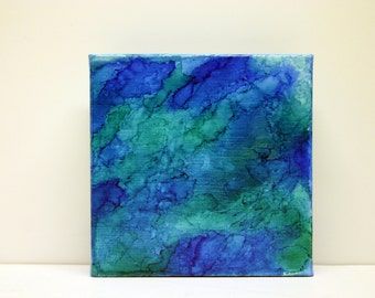 Mixed Media Alcohol Ink Abstract Canvas art piece, Desk art Office decor modern contemporary small unique gift for him her accent art piece