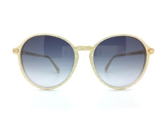 Genuine 1980s Silhouette Round White Vintage Sunglasses // Made in Austria // New Old Stock