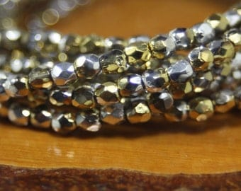 3mm Czech Firepolish, Faceted Round, 50 Beads, Metallic Gold and Silver