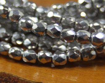 3mm Czech Firepolish, Faceted Round, 50 Beads, Metallic Silver
