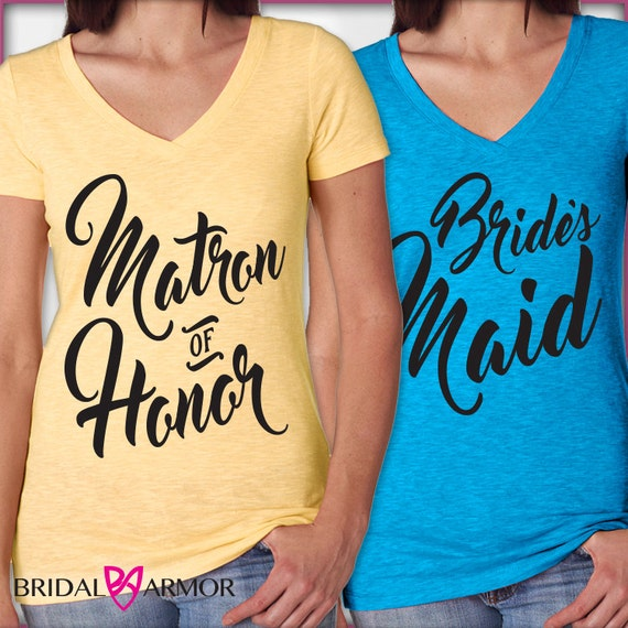 T sayings bridal shower vneck shirt matron of honor by for Bridal shower t shirt sayings