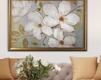 White Blossoms- by Nan F Framed Painting Print Gold Frame