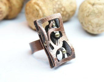 Copper ring with bronze Boho style ring Ring for Unique ring Gifts for mom Bohemian ring Copper jewelry Gihts for her Boho copper ring