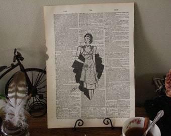 FASHION Art PRINT. Dictionary Altered Page Art. Beautiful woman in retro dress and apron.
