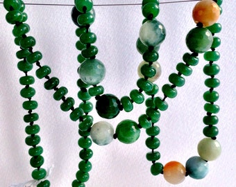 GREEN AGATE NECKLACE jade green, multi colour agate, earthy neutrals, long, hand knotted