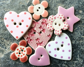 8 Assorted Pink Buttons, Handmade Buttons, Sewing Buttons, Ceramic Buttons, Craft Buttons, Flower Buttons, Wedding Favours.