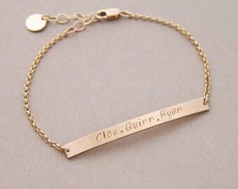 Bar bracelet, sterling silver or gold filled • BB46x4