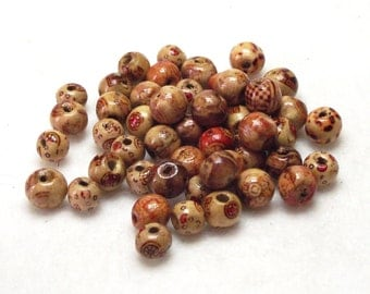 50 Mixed Wooden Multi-Pattern Decorated Beads 6mm x 8mm