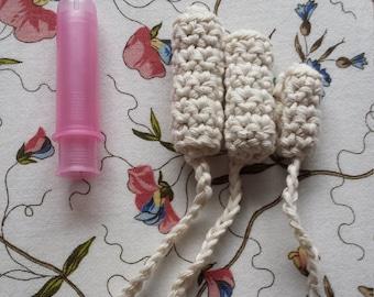 Reusable Crochet Tampon Starter Kit unbleached organic  100% cotton