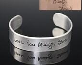 Handwriting Jewelry, Custom Signature Cuff Bracelet ACTUAL Handwriting Jewelry, Personalized Jewelry, Memorial Jewelry