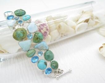 Tibetan Turquoise Larimar and Blue Topaz Sterling Silver Bracelet