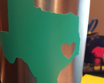 Texas heart Yeti Decal / State Decal / Texas Decal / Any state