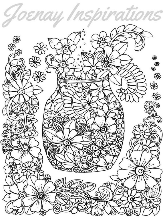 Adult Coloring Book, Printable Coloring Pages, Coloring Pages, Coloring Book for Adults, Instant Download, Fancy Flowers 1 page 5