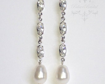 Swarovski Clear Crystal & White Pearl Victorian Drop Earrings Silver Wedding Bride Bridal Bridesmaid By PalaceBridal