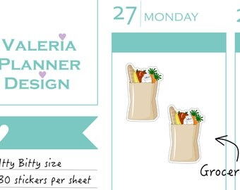 ITTY BITTY - A0087 - Groceries - shopping stickers - Planner Stickers - Decorative stickers, Meal planning, supermarket stickers