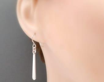 "ON SALE + Free Shipping. Long Silver Teardrop Earrings. Long Drop. Classic Minimalist Jewelry. Everyday Simple. Sterling Silver. 1 1/4"""