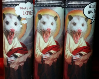 Possum  Pet Saint Prayer Candles - Add your own message!  Pests or Pets!?