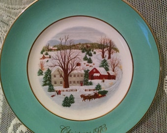 Avon plate, Avon collector plate, 1973, 1976, Christmas 1973, Christmas 1976, Avon, collector plate, Christmas on farm, Bring home tree