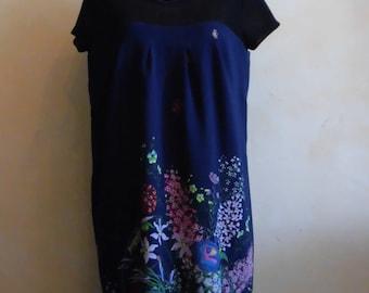 Silk dress printed flowers
