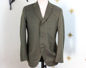 CLEARANCE! Vintage 1950s dark green tweed suit jacket blazer sport coat M/L 378